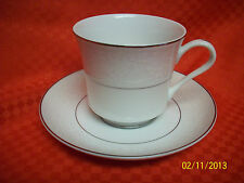 (4) CHADDS FORD QUEEN'S LACE CUPS & SAUCERS Fine China Japan Platinum Trim
