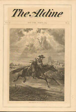 Horse, Rider, Messenger, From Ghent To Aix, Vintage 1873 Antique Art Print,