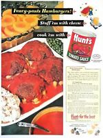1950 Hunts Tomato Sauce Vintage Print Ad Fancy Pants Hamburgers