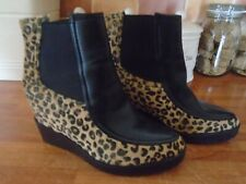 Women's Comfy Faux Fur Leopard Print Wedge Heel Slip On Ankle Boots UK 7 EU40