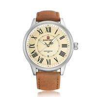 Genuine Leather Band NAVIFORCE Men's Analog Quartz Wrist Watches Date Watch