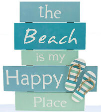 "BEACH IS MY HAPPY PLACE Sign Plaque LARGE 17.3 ""  x  15.5""  Coastal Flip Flops"