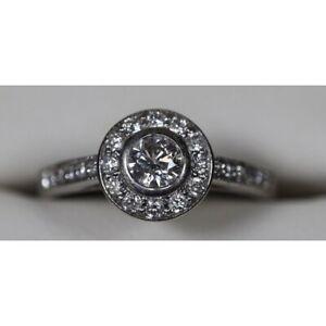 Beautiful Diamond HALO Ring 18ct White Gold Size L  Engagement Anniversary Large