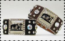 WESTERN Praying Cowboy Rhinestone Leather Cuff Cowgirl Bracelet BROWN