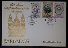 Barbados 1981 Matrimonio Reale FDC DIANA Charles Bouquet Fiori (NoL254)