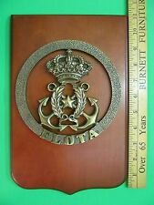 Naval Navy Flota Plaque Brass Mounted On Wood. Anchors Crown / Crest.