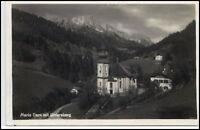 Maria Gern Bayern AK ~1935/40 Partie an der Kirche mit Untersberg ungelaufen