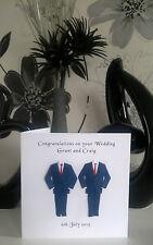 Gay Same Sex Men Marriage Civil Wedding Card Personalised Blue Suit Red Ties NEW
