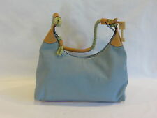 Fossil Light Blue/Mint Green Weaved Strap Leather Accents Satchel Bag - GR8!