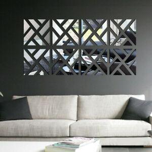 4 Slice 3D Mirror Acrylic Wall Sticker DIY Art Vinyl Decal Home Room Decor Mural