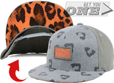 PUMA Leopard Animal Print Flatbill Snapback Cap Hat adjustable Gray Orange NEW
