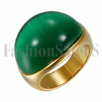 Men's Stainless Steel Imitation Green Opal Promise Wedding Ring Band Size 8-12