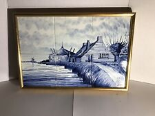 "Delft Blue Tile Landscape Scenic Cottage Scene 18"" x 12"" DP Hand Painted Holland"