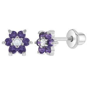 Rhodium Plated Purple Lavender CZ Flower Screw Back Kids Baby Girl Earrings