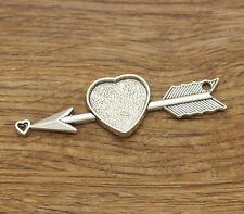 3 Heart Arrow Pendant Bezel Cabochon Setting Silver 73.5x23 Inner 20x19 1676