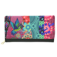 Ladies PURSE with psychedelic bright floral flowers bird SEX FUN & LOVE graphic