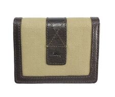Tommy Bahama Sand & Surf L-Fold Leather/Canvas Wallet in Khaki/Brown in Gift Box