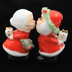 VTG Porcelain NAPCO NAPCOWARE Mini Kissing Santa Claus Mrs. Figurines Spaghetti