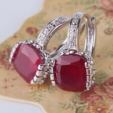 Ruby SHINING 18K White gold filled luxury wedding leverback princess earring