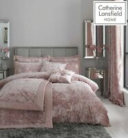 Catherine Lansfield Luxury Crushed Velvet Duvet Cover Bedding Collection Blush