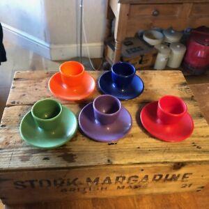 Vintage Set 5 Colourful EMSA Hard Plastic Egg Cups – Stackable – Retro! –