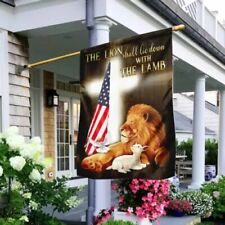 The Lion Shall Lie Down With The Lamb Flag Garden/House/Wall Flag