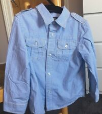 H&M Boys Blue Striped Long Sleeved Shirt Age 5 EU 110 Cotton 100%