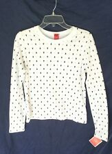 Ladies Med Christmas Tree & Star Pattern Tee shirt long sleeve top Crew neck NEW