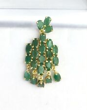 14k Solid Yellow Gold Cluster Charm Pendant,Natural Emerald 3.66 Grams