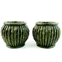 """Pair of Vintage MCM Faux Bamboo Vases Planters Round Green Retro Asian Boho 4.5"""""""