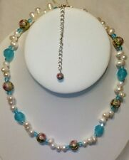 China Cloisonne, Glass Bead & Cultured Pearl Necklace
