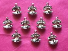 Tibetan Silver Oyster Shell with Pearl Charms x10