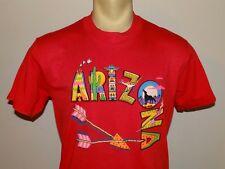 Vtg 80s 90s Mens Red T-Shirt Oneita 50/50 Arizona Slim Large or Medium