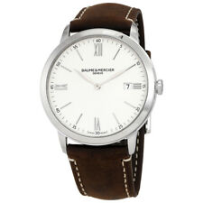Baume et Mercier Classima White Dial Mens Brown Leather Watch 10389