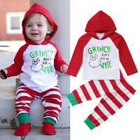 US Newborn Baby Girl Boy Christmas Hooded Tops Pants 2Pcs Outfits Clothes 0-24M