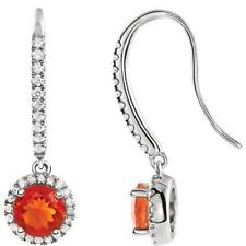 14K White Gold Mexican Fire Opal and 3/8 CTW Diamond Halo Earrings