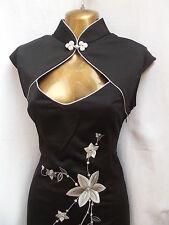 Oriental Chino Negro Plata mandarín Vestido Talla 20 22
