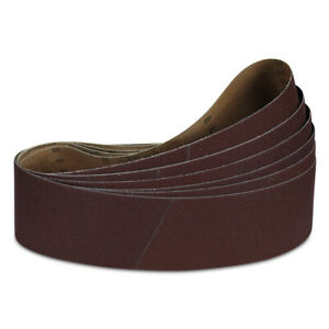 "4"" x 21"" Inch 60 Grit Aluminum Oxide Sanding Belt Kit Metal or Wood - 6 Pack"
