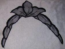 """2 BLACK FLOWERS! Applique. Sew-in. 7""""Lx9""""W. Crafty, Apparel, Fashion, Sew.NEW"""