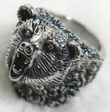 WILD BEAR STAINLESS STEEL RING size 14 silver metal S-506 bears head w teeth new