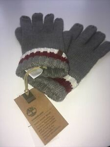 TIMBERLAND Grey Stripe Knit GLOVES Adult One Size Tags