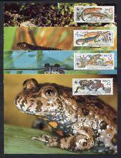 s3717) CZECHOSLOVAKIA 1989 MNH** WWF, Amphibians 4v MAXICARDS