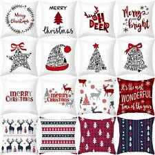 Christmas Cushion Cover Sofa Decor Throw Home Xmas Cotton Linen Pillow Case