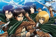 ATTACK ON TITAN ~ CAST IN GREEN CAPES ~ 24x36 Anime Poster ~ NEW!