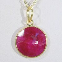 Gold vermeil over sterling silver opaque ruby faceted gemstone pendant necklace