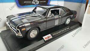 NEW MAISTO 1:18 Diecast Model Car 1970 Chevrolet Nova SS Coupe in Black