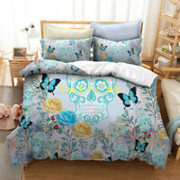 Butterfly Skull Single/Double/Queen/King Size Bed Quilt/Doona/Duvet Cover Set