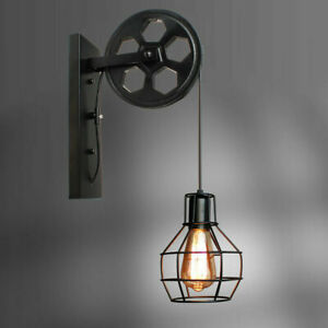 Vintage Rustic Wrought Iron Pulley Wall Light Porch Cage Wall Mount Lamp Sconces