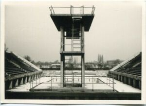 Org. Foto BERLIN Olympia-Gelände, Olympia-Schwimmstadion, Sprungturm Winter 50er