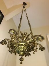 French Antique Art Deco Bronze Ceiling Light - Winged Woman Angel after PINET